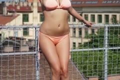 Candy Alexa Big Boobs Squeezed in Peach Bikini 005