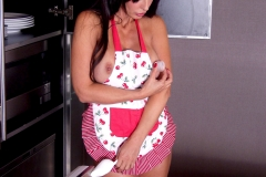 Catalina Cruz Big Boobs Behind Pink Apron in the Kitchen 006
