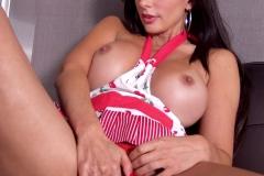 Catalina Cruz Big Boobs Behind Pink Apron in the Kitchen 010