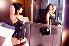 Catalina Cruz Big Tits Black Vinyl Corset 03