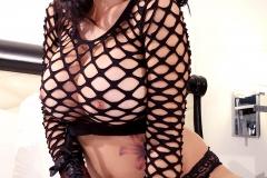 Catalina Cruz Big Tits Fishnet Top and Leather Cuffs 005