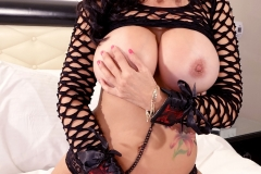 Catalina Cruz Big Tits Fishnet Top and Leather Cuffs 008