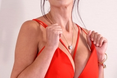 Catalina Cruz Huge Boobs in Sexy Red Dress 001