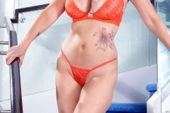 Catalina Cruz Huge Boobs Orange Bikini 01