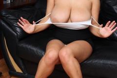 Charley Green Big Tits White Strappy Top Miniskirt 04