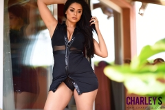 Charley S Big Breasts Little Black Dress and Black Lingerie 004