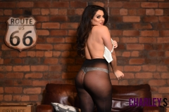 Charley S Big Tits Black Lacey Dress and Nylons 09