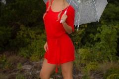 Cherie Deville Big Boobs Red Minidress and Umbrella 001