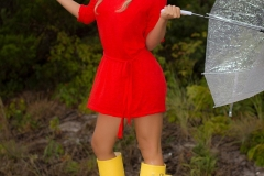 Cherie Deville Big Boobs Red Minidress and Umbrella 004