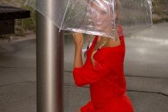 Cherie Deville Big Boobs Red Minidress and Umbrella 005