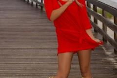 Cherie Deville Big Boobs Red Minidress and Umbrella 007