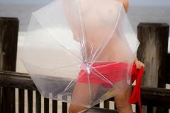 Cherie Deville Big Boobs Red Minidress and Umbrella 011