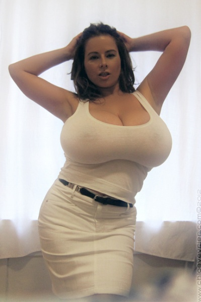 Chloe Vevrier Huge Boobs Barely Contained in Tight Shirt 007
