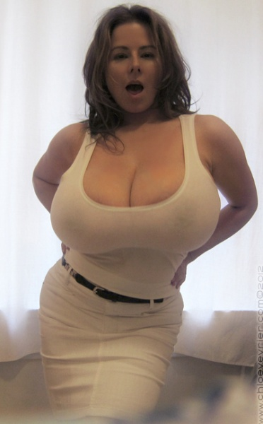 Chloe Vevrier Huge Boobs Barely Contained in Tight Shirt 008