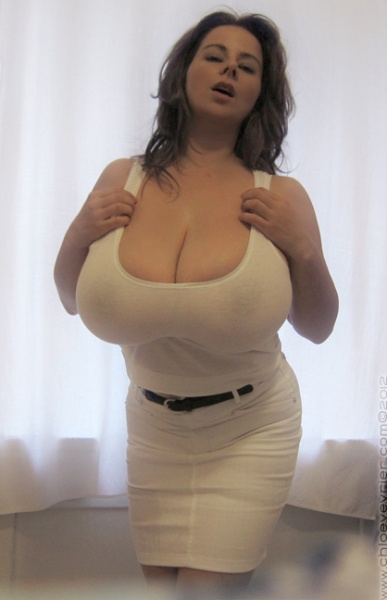 Chloe Vevrier Huge Boobs Barely Contained in Tight Shirt 009