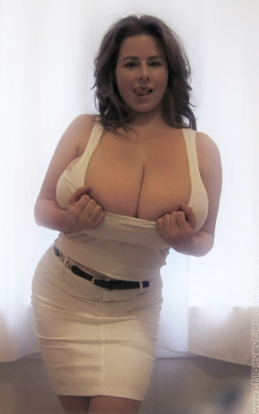 Chloe Vevrier Huge Boobs Barely Contained in Tight Shirt 010