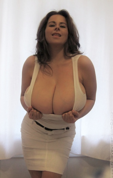 Chloe Vevrier Huge Boobs Barely Contained in Tight Shirt 011