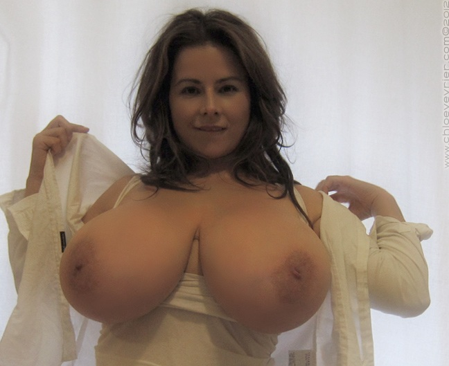 Chloe Vevrier Huge Boobs Barely Contained in Tight Shirt 012