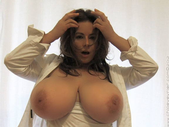 Chloe Vevrier Huge Boobs Barely Contained in Tight Shirt 013