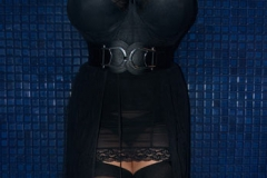 Chloe Vevrier Huge Boobs Black Corset and Stockings 004
