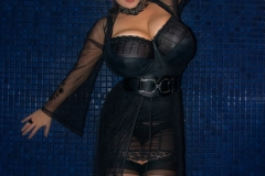 Chloe Vevrier Huge Boobs Black Corset and Stockings 005