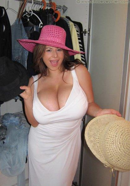 Chloe Vevrier Huge Boobs in Tight White Dresses 005
