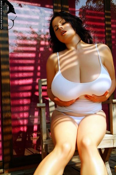 Chloe Vevrier Huge Boobs in Tight White Dresses 007