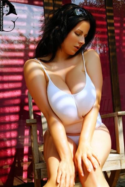 Chloe Vevrier Huge Boobs in Tight White Dresses 009