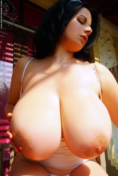 Chloe Vevrier Huge Boobs in Tight White Dresses 013