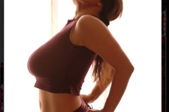Chloe Vevrier Huge Breasts Brown Top and Skirt 001