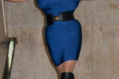 Chloe Vevrier Huge Breasts Tight Blue Dress 001