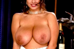 Chloe Vevrier Huge Tits Silver Dress and Stockings 004