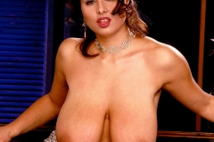 Chloe Vevrier Huge Tits Silver Dress and Stockings 005