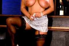 Chloe Vevrier Huge Tits Silver Dress and Stockings 006