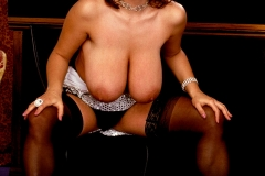 Chloe Vevrier Huge Tits Silver Dress and Stockings 009