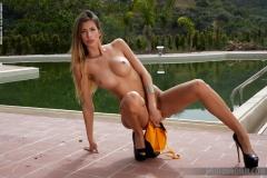 Claudia Big Boobs in Sexy Orange Swimsuit for Photodromm 026