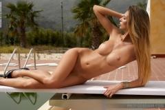 Claudia Big Boobs in Sexy Orange Swimsuit for Photodromm 030