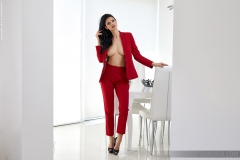 Clio Big Boobs Hot Sexy Red Suit 002