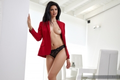 Clio Big Boobs Hot Sexy Red Suit 004
