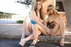 Danielle and Leslie Big Boob Girls Kissing under the Tree for FTV Girls 014