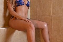 Danielle Sellers Big Tits Blue Bikini Shower 003
