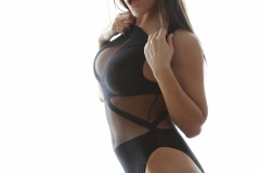 Danni Gibson Big Tits Tight Black Stretchy Lycra Body 011
