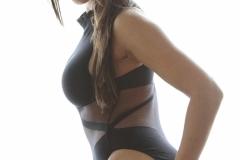 Danni Gibson Big Tits Tight Black Stretchy Lycra Body 014