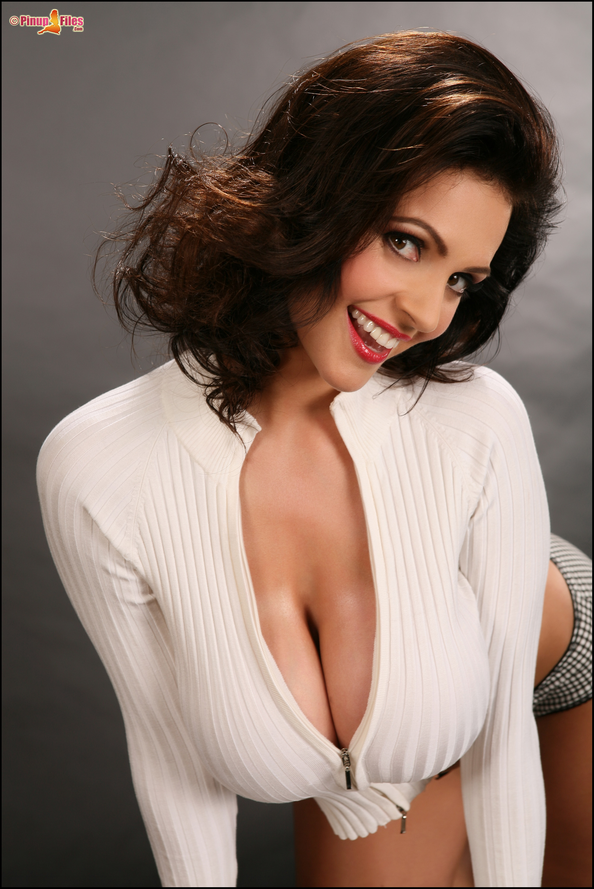 Denise Milani Huge Boobs in a White Cardigan - Feel the ...
