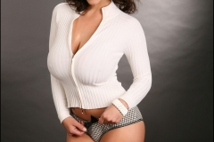 Denise Milani Huge Boobs in a White Cardigan 001