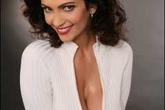 Denise Milani Huge Boobs in a White Cardigan 017