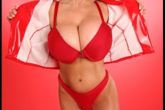 Denise Milani Huge Boobs Red Bra and Panties 008