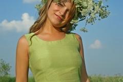 Elena Big Boobs Green dress ina green field for Body in Mind 001