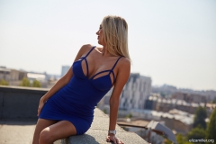Eliza Miller Big Boobs in a Tight Blue Minidress 001