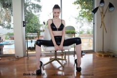 Emily Bloom Big Boobs Black Wetlook Leggings and Heels 001